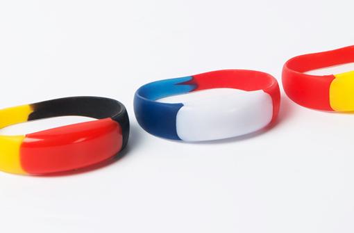 Bracelets LED 3 couleurs sur-mesure rouge jaune noir, rouge et jaune, ou bleu blanc rouge