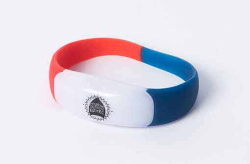 Bracelet lumineux LED tricolore bleu blanc rouge en silicone pour supporter