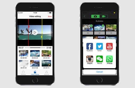 Application caméra sport sur un smartphone