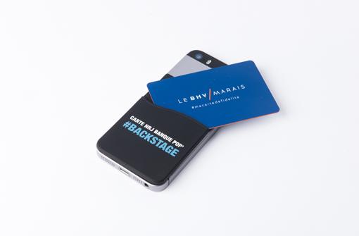 Porte-carte adhésif en silicone avec logo