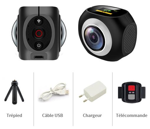 Caméra 360 HD avec ses accessoires : trépied, câble USB, chargeur et télécommande