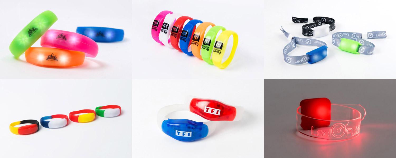 6 types de bracelets LED différents