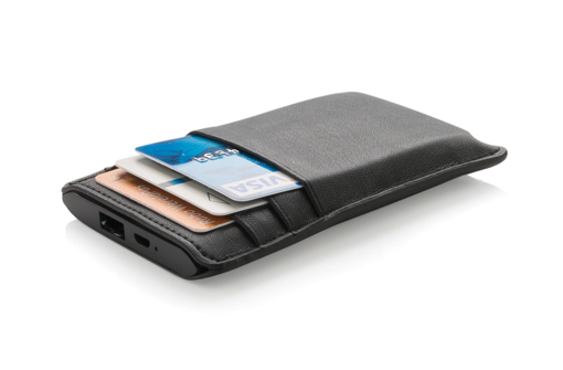 power bank noir en simili cuir porte cartes