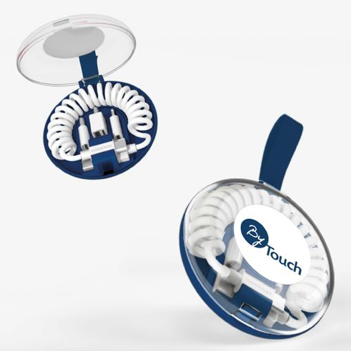 Cable de charge publicitaire dans son boitier personnalisé avec le logo de l'entreprise By Touch