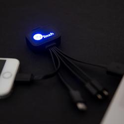 Câble de charge pour smartphone avec logo lumineux et 5 embouts USB