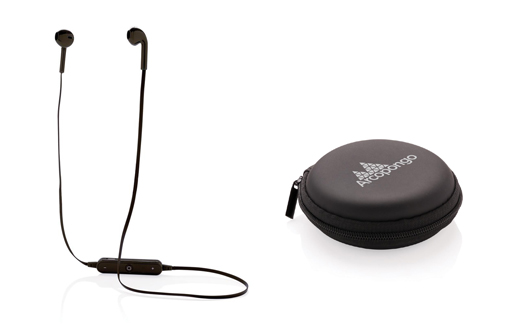 Écouteurs sans fil publicitaires avec un boitier noir