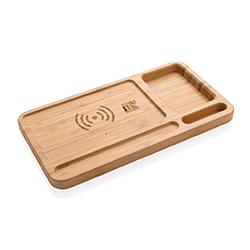 Chargeur sans fil publicitaire en bambou personnalisé avec un logo