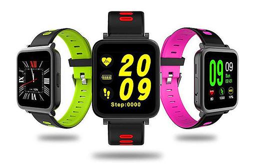 Smartwatch personnalisable modèle premium dans 3 couleurs : vert, rose et rouge