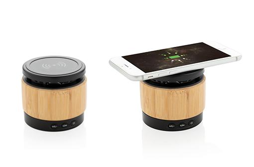 Enceinte bluetooth en bambou personnalisable avec un logo avec support à induction