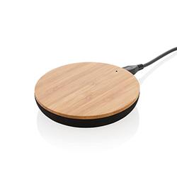 Chargeur à induction rond en bambou naturel