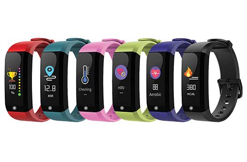Déclinaisons couleurs du bracelet thermomètre connectée (rouge, bleu, rose, vert, violet, noir)