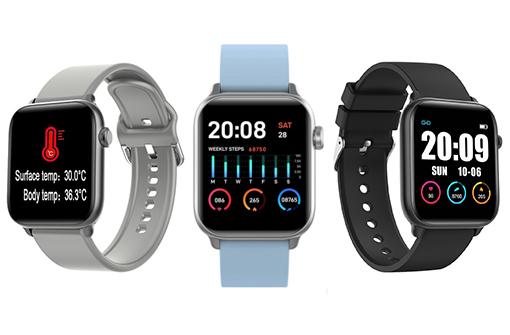 Déclinaisons couleurs de la montre thermomètre connectée (gris, bleu et noir)