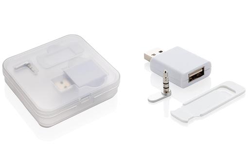 Cache webcam et accessoires de confidentialité en plastique blanc avec boite de transport transparente